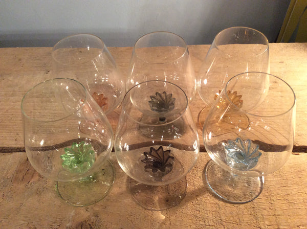 Set of Six 1930's Brandy Balloon Glasses