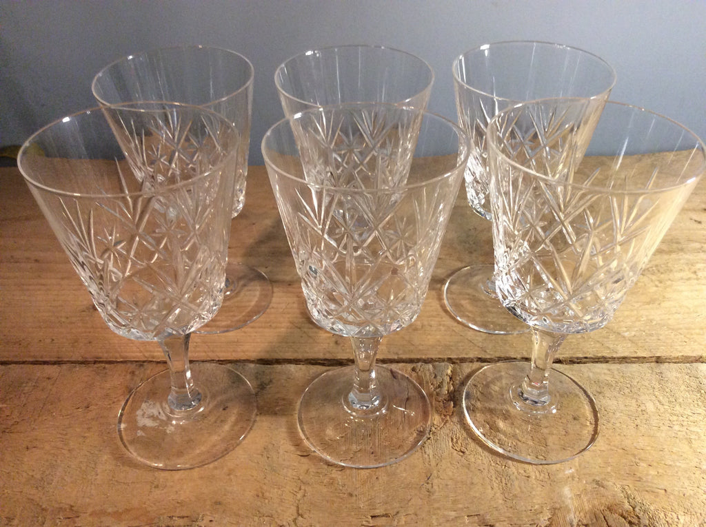 Set Of Six Cut Crystal Wine Glasses Pitfield London