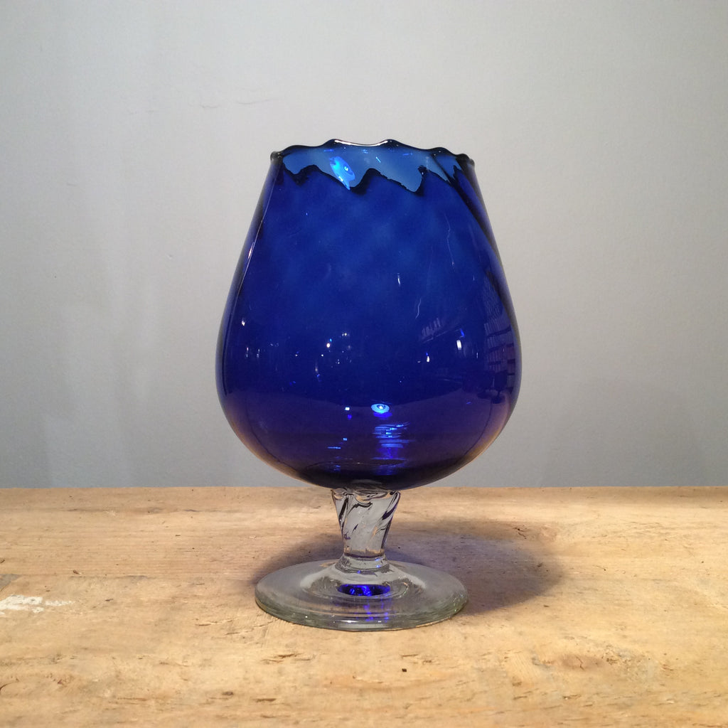 Vintage Blue Glass Goblet with Rippled Rim