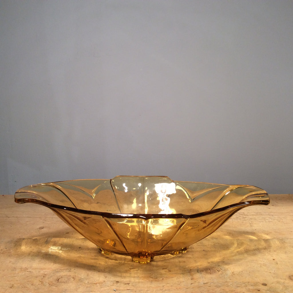 Vintage Amber Pressed Glass Bowl 006