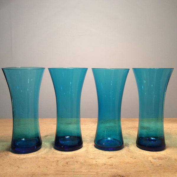 Vintage Set of 4 Blue Drinking Glasses