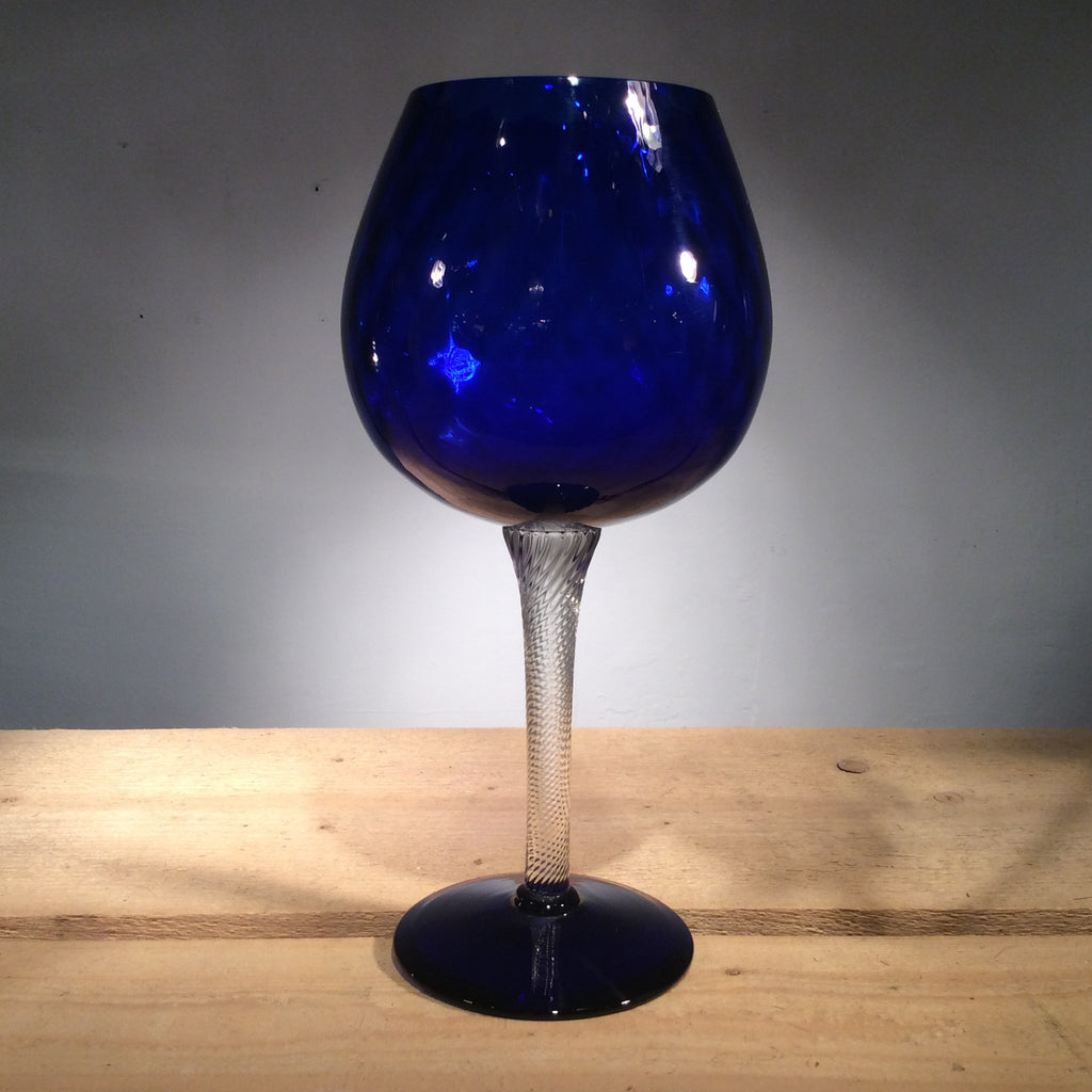 Vintage tall blue goblet with clear stem
