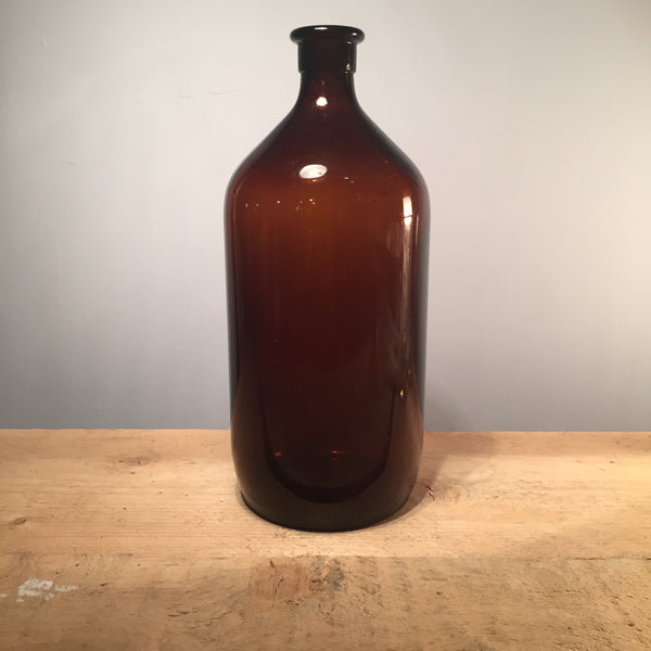 Vintage Amber Apothecary Bottle, 30cm Tall
