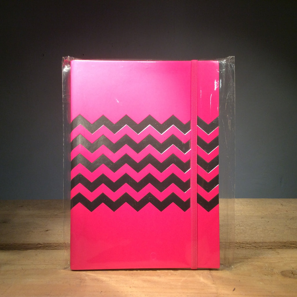 A5 Slim Chevron Recycled Leather Notebook - Fluro Pink