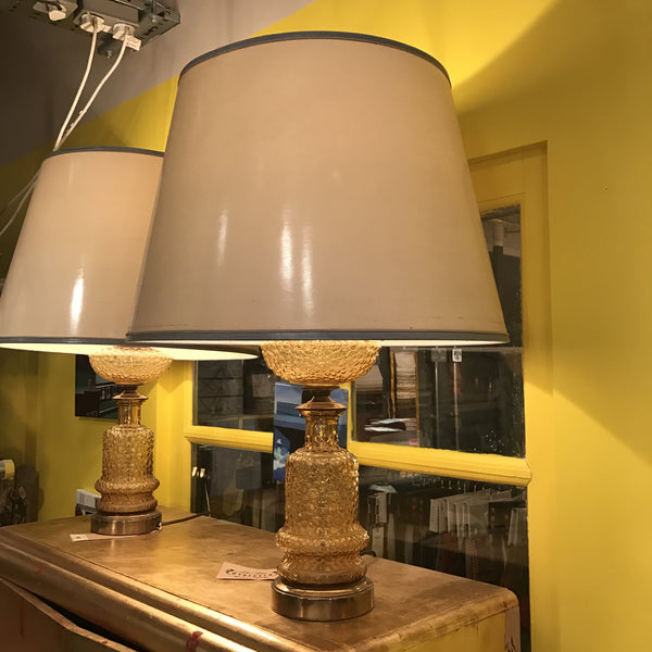Vintage Lighting Yellow Studded Glass Lamp