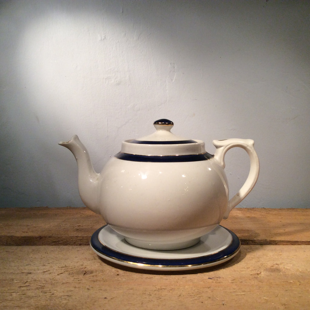 Vintage Ceramic Teapot and Plate with Blue Edge