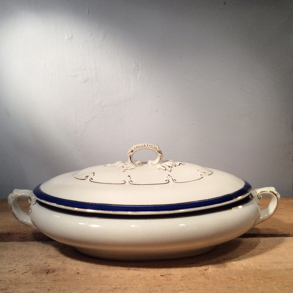Vintage Large Ceramic Terrine with Blue Edge
