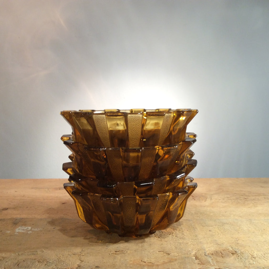 Vintage Set of 4 Amber Glass Spike Bowls