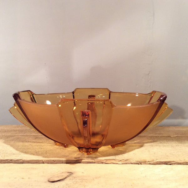 Vintage Amber Pressed Glass Bowl 009