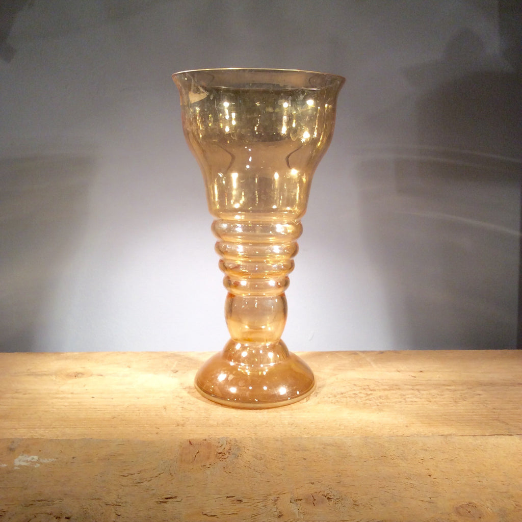 Vintage Rippled Orange Vase 06