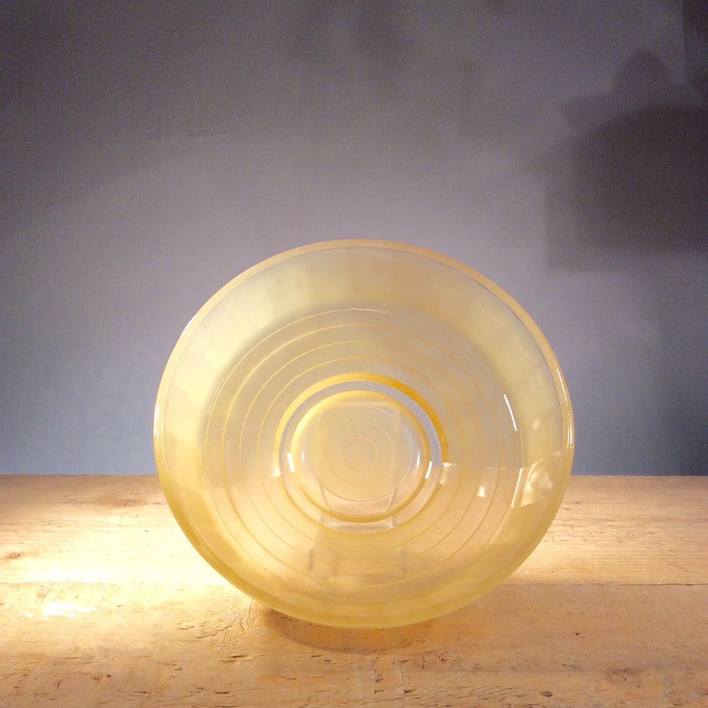 Vintage Yellow Frosted Glass Bowl
