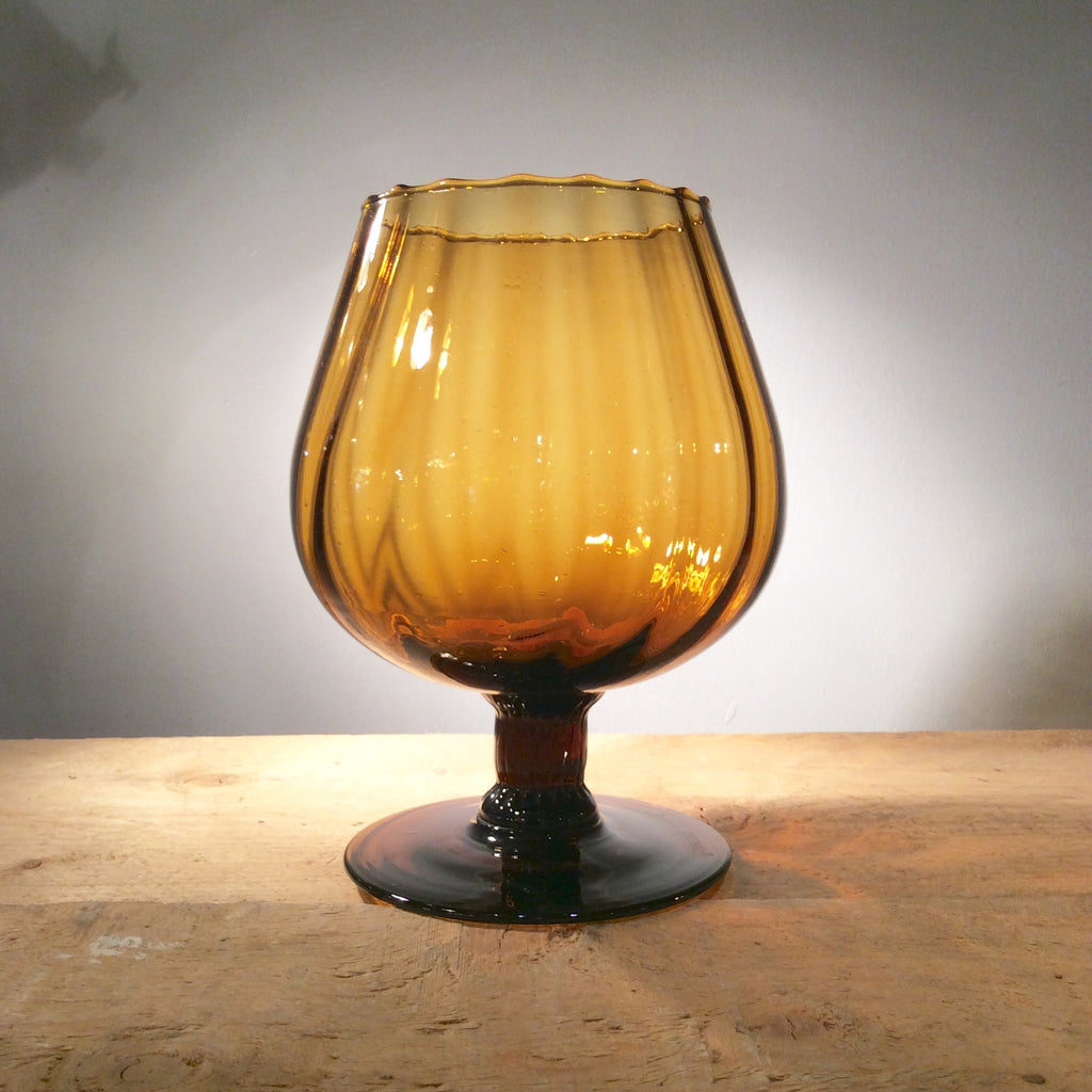Vintage Dark Amber Glass Goblet 06