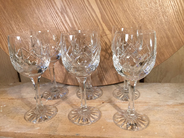 Set of Six cut lead crystal wine glasses