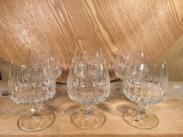 Brandy Ballooned cut lead crystal set of 6
