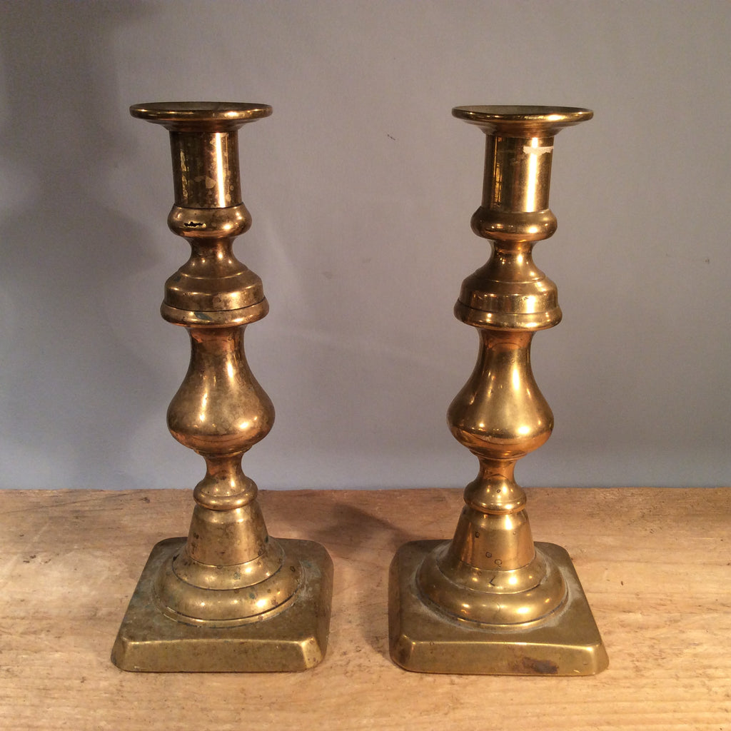 Vintage Pair of Brass Candle Sticks 21cm