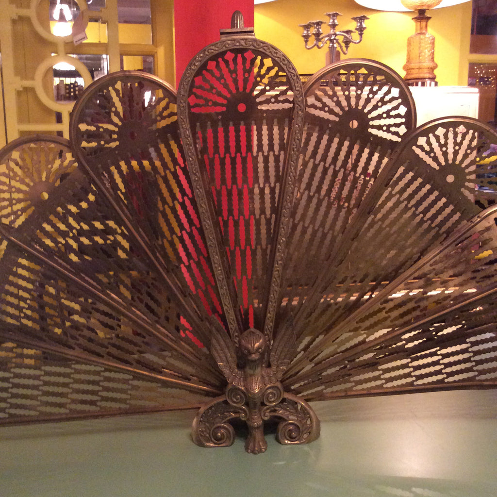 Vintage Brass Eagle Fire Screen