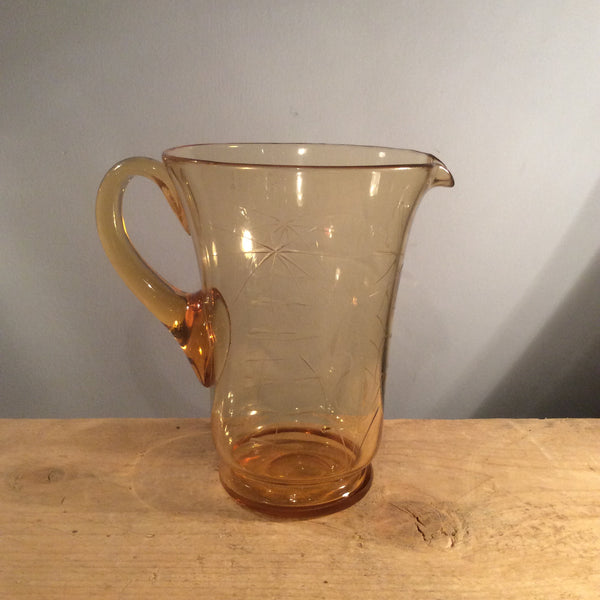 Vintage Amber Glass Etched Jug