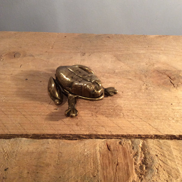 Vintage Bronze Pill Box - Frog
