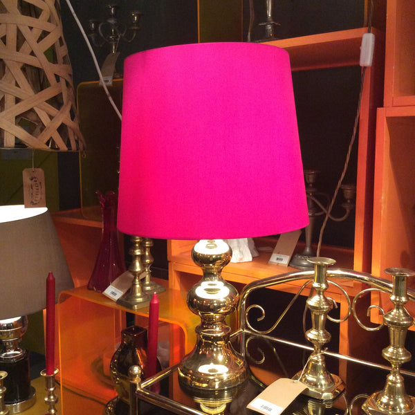 Gold Table Lamp with Pink Lampshade