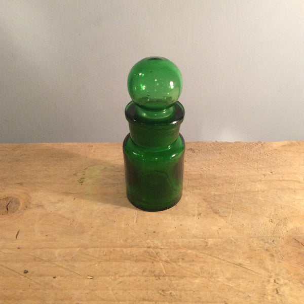 Vintage Green Glass Bottle with Stopper - Medium