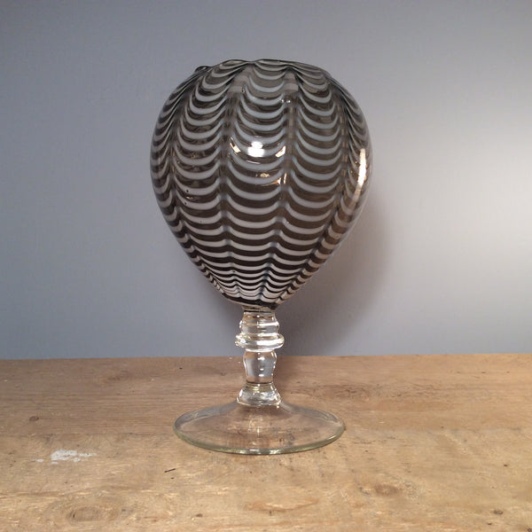 Vintage Grey Glass Rippled Goblet