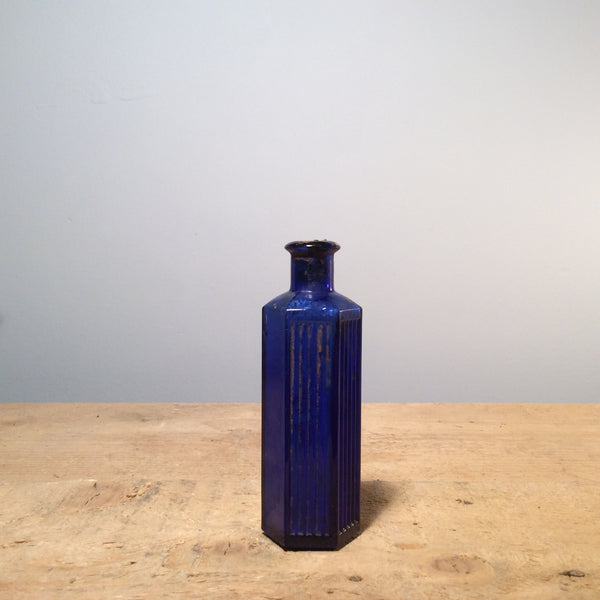 Vintage Blue Glass Victorian Bottle Small