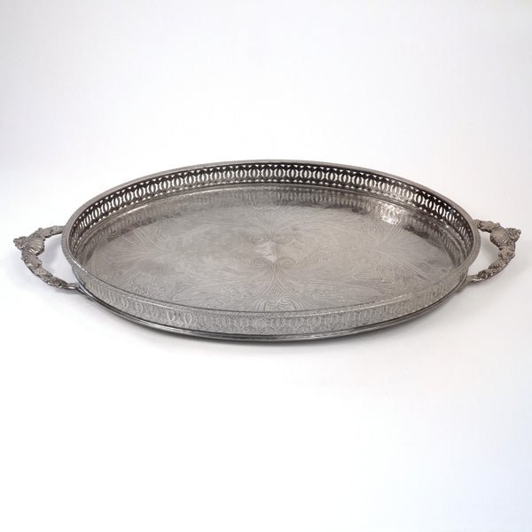 Vintage Oval Footed Silver Tray with Handles