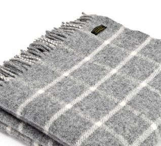 Pure New Wool check throw in grey