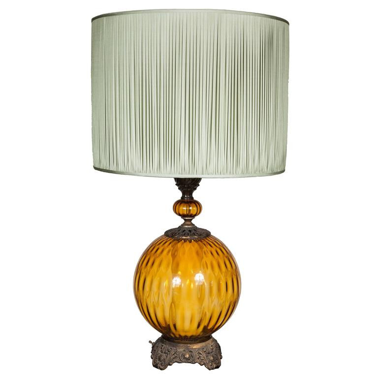 Round Bright Amber Glass Table Lamp with Pale Green Gathered Silk Shade