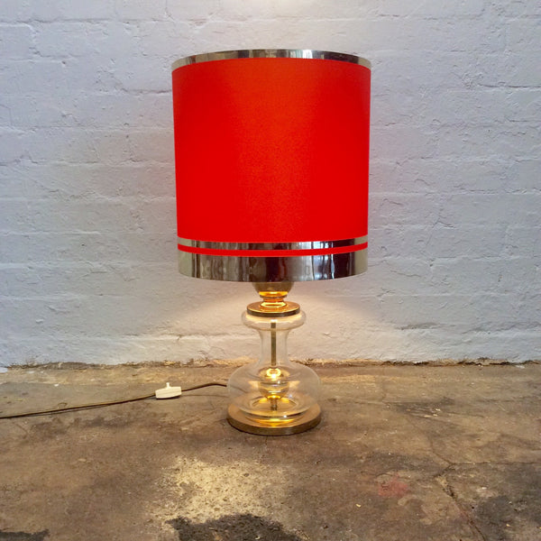 Vintage Lighting - Glass Column Table Lamp with Orange Shade