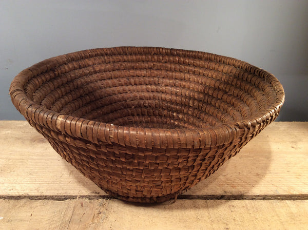 Vintage Wicker Round Basket, 35cm Diameter