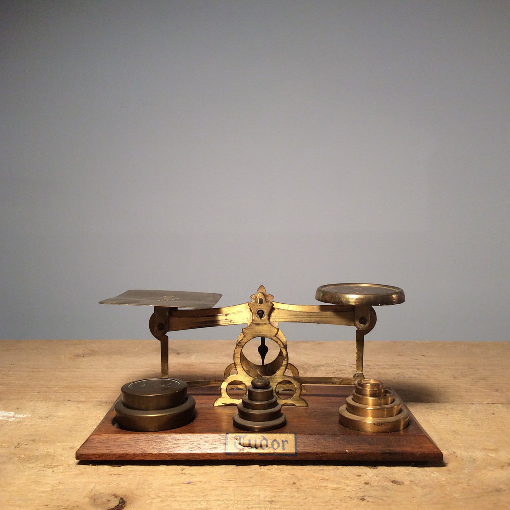 Vintage Brass Postal Scale with Weights