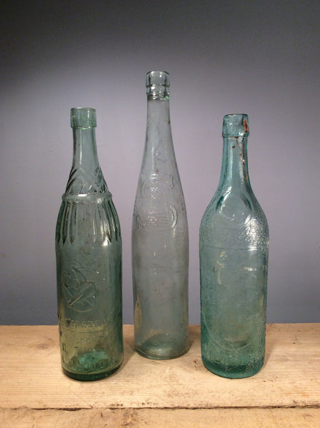 Vintage Glass Clear Bottle Large