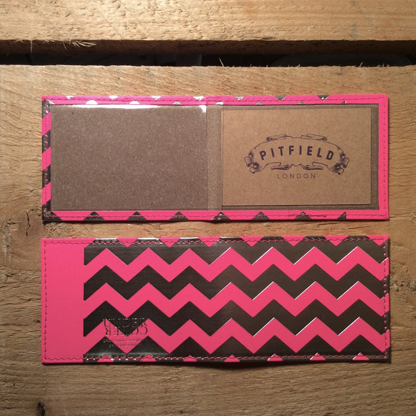 Card Holder - Chevron Fluro Pink