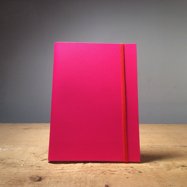 A5 Recycled Leather Notebook - Fluro Pink