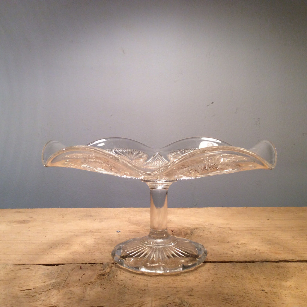 Vintage Glass Cake Stand with Fluted Edge