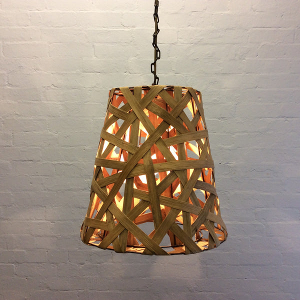 Vintage Wicker Wooden Hanging Lamp