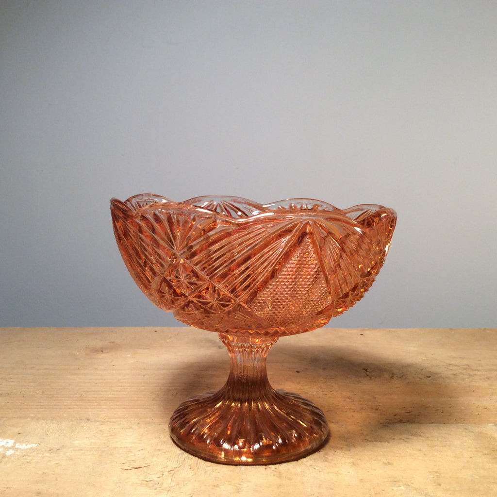 Vintage Pressed Carnival Glass Footed Bowl