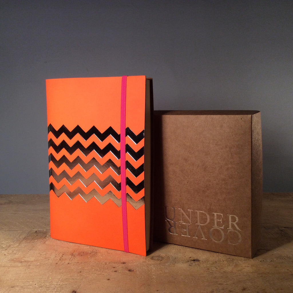 A5 Chevron Recycled Leather Notebook - Fluro Orange