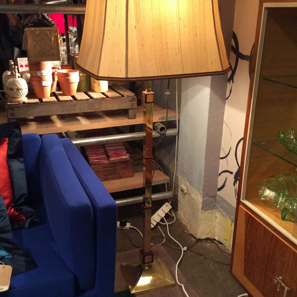 Vintage Square Brass Standing Lamp with Original Shade