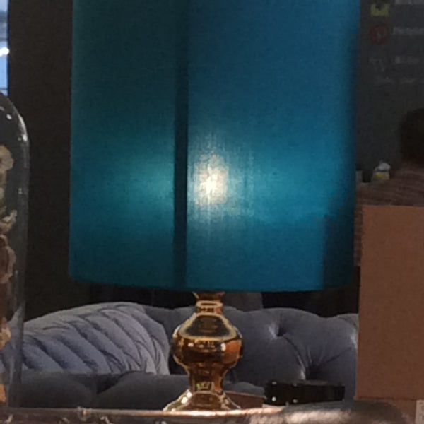 Vintage Brass Lamp with Turquoise Shade