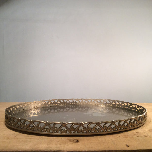 Vintage Oval Silver Serving Tray