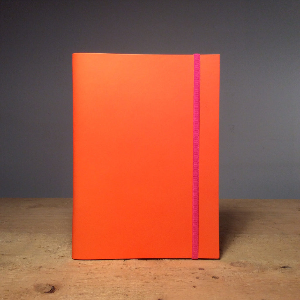 A5 Recycled Leather Notebook - Fluro Orange