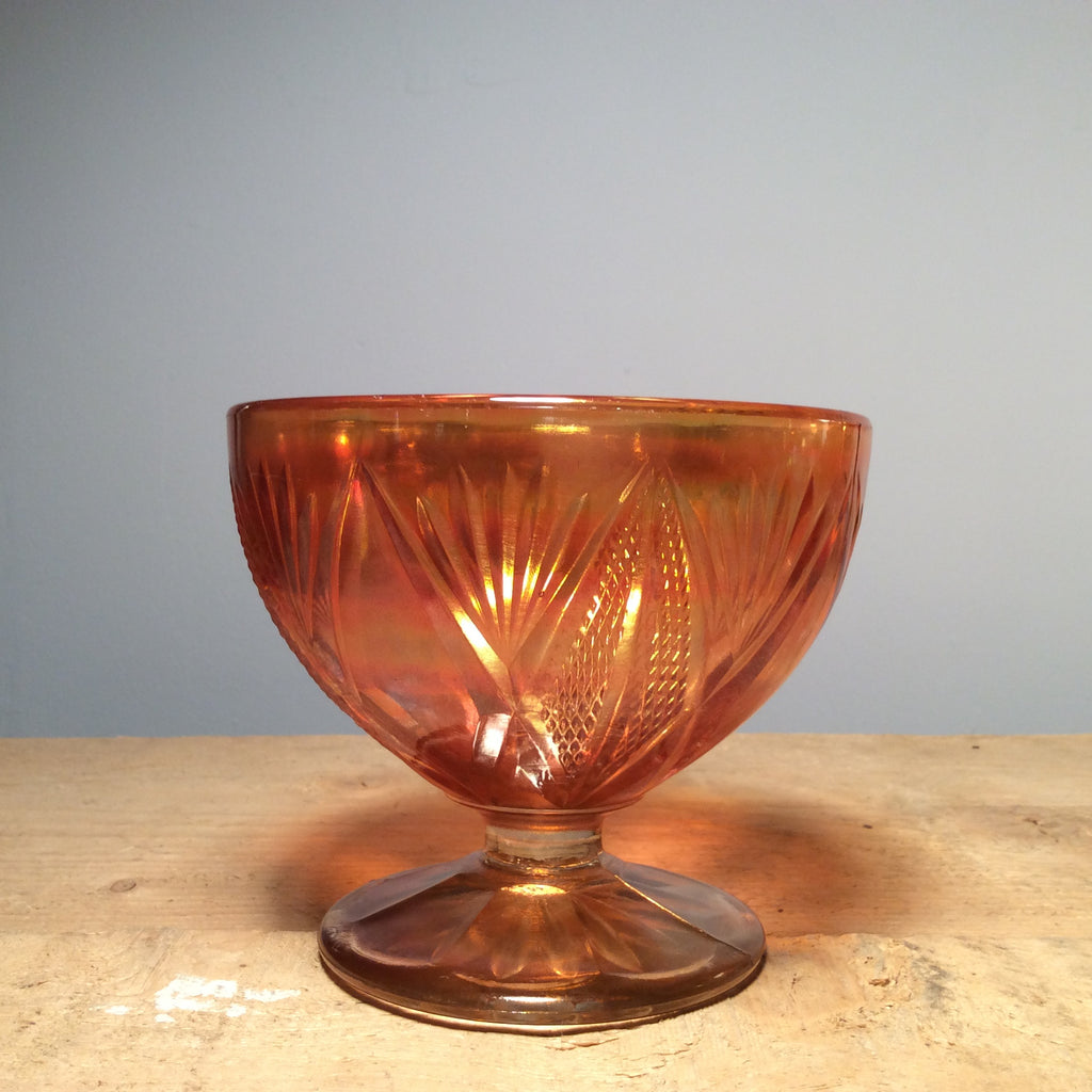 Vintage Pressed Carnival Glass Footed Bowl Small