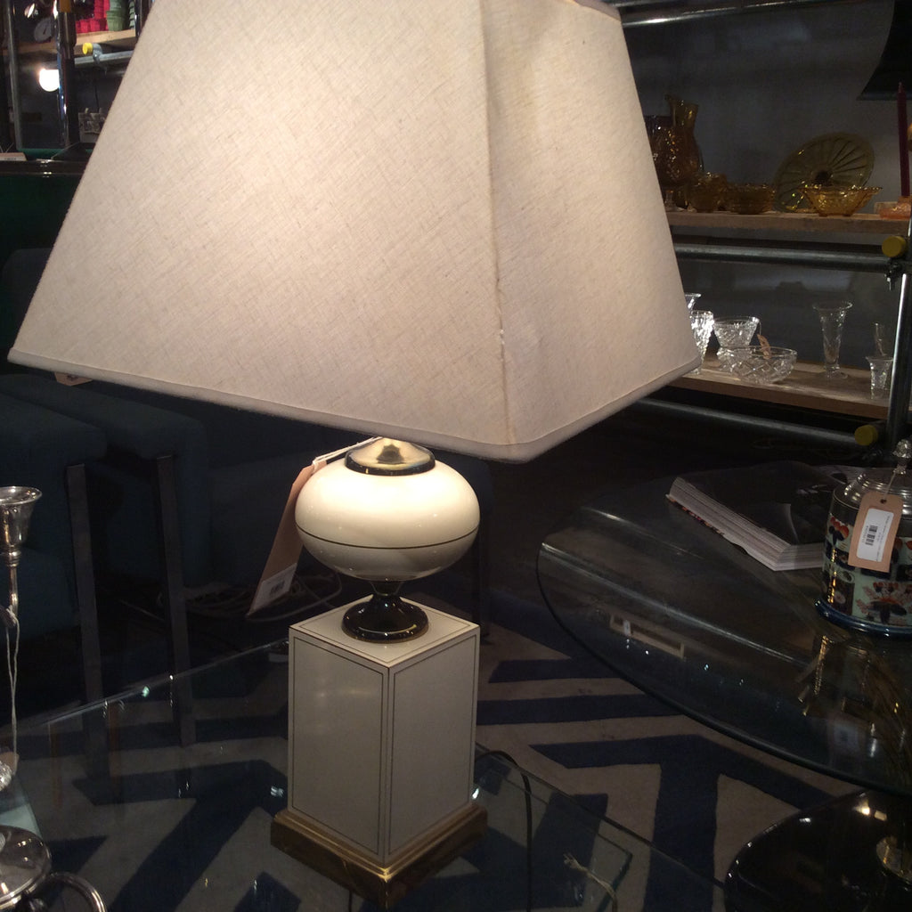 Vintage Cream Table Lamp with Vintage Shade