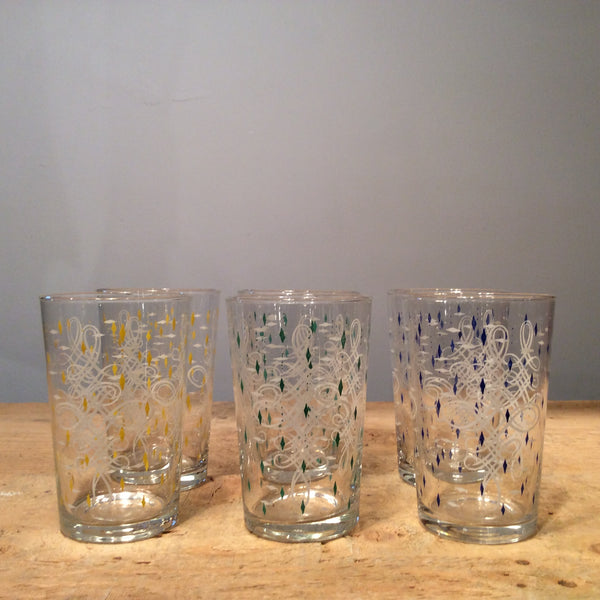 Vintage set of 6 Decorated Glasses
