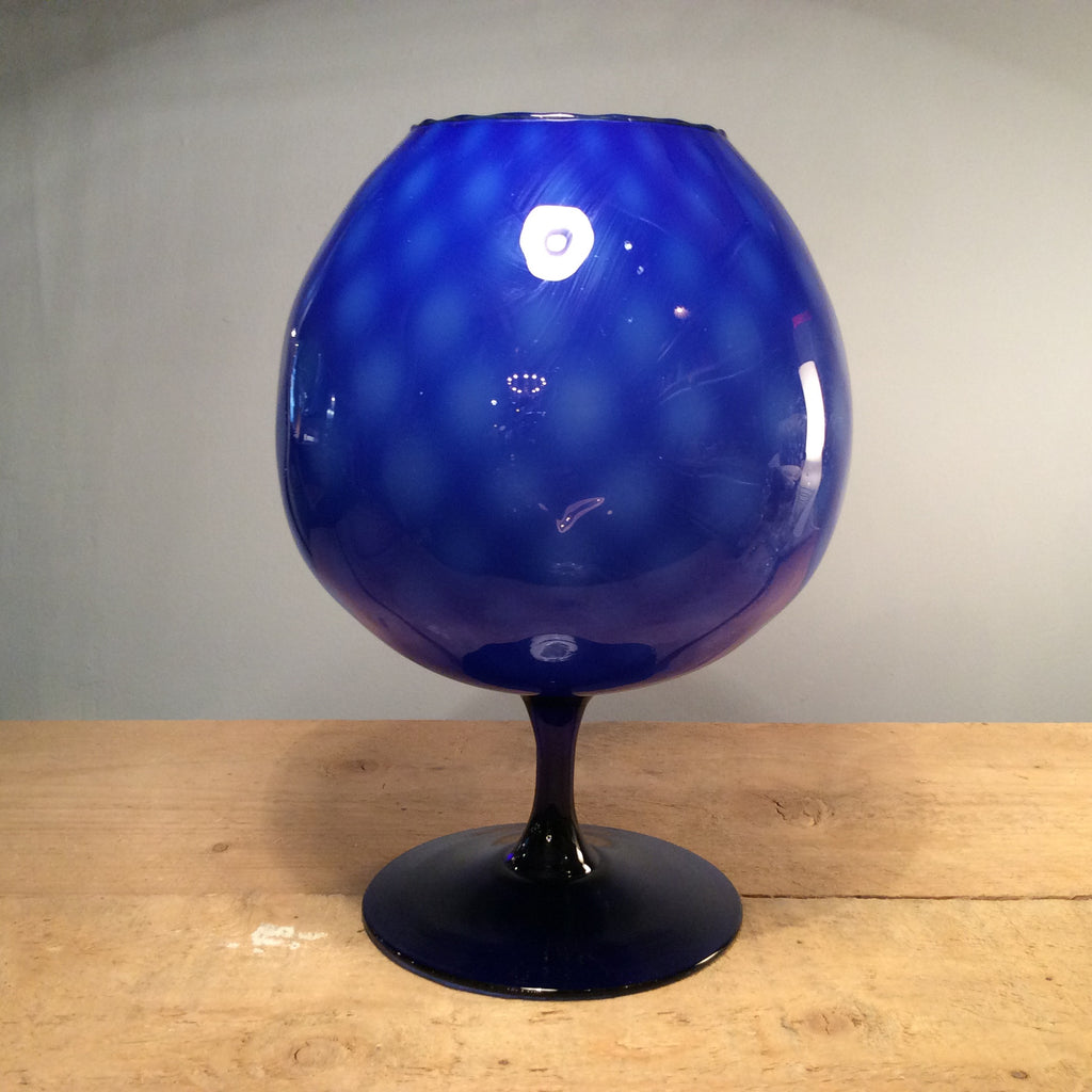 Vintage Blue Glass Goblet
