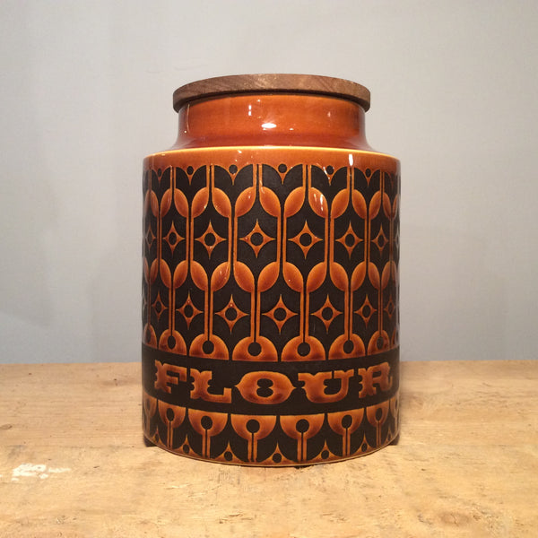 Vintage Hornsea Brown Heirloom Flour Pot, Large