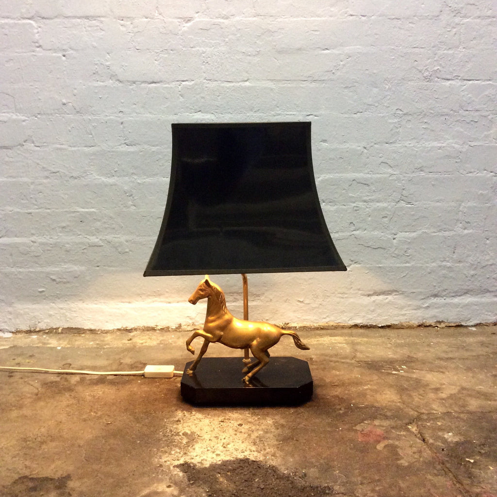 Vintage Equine Brass Lamp / Running Horse with Rectangle Bell Shade