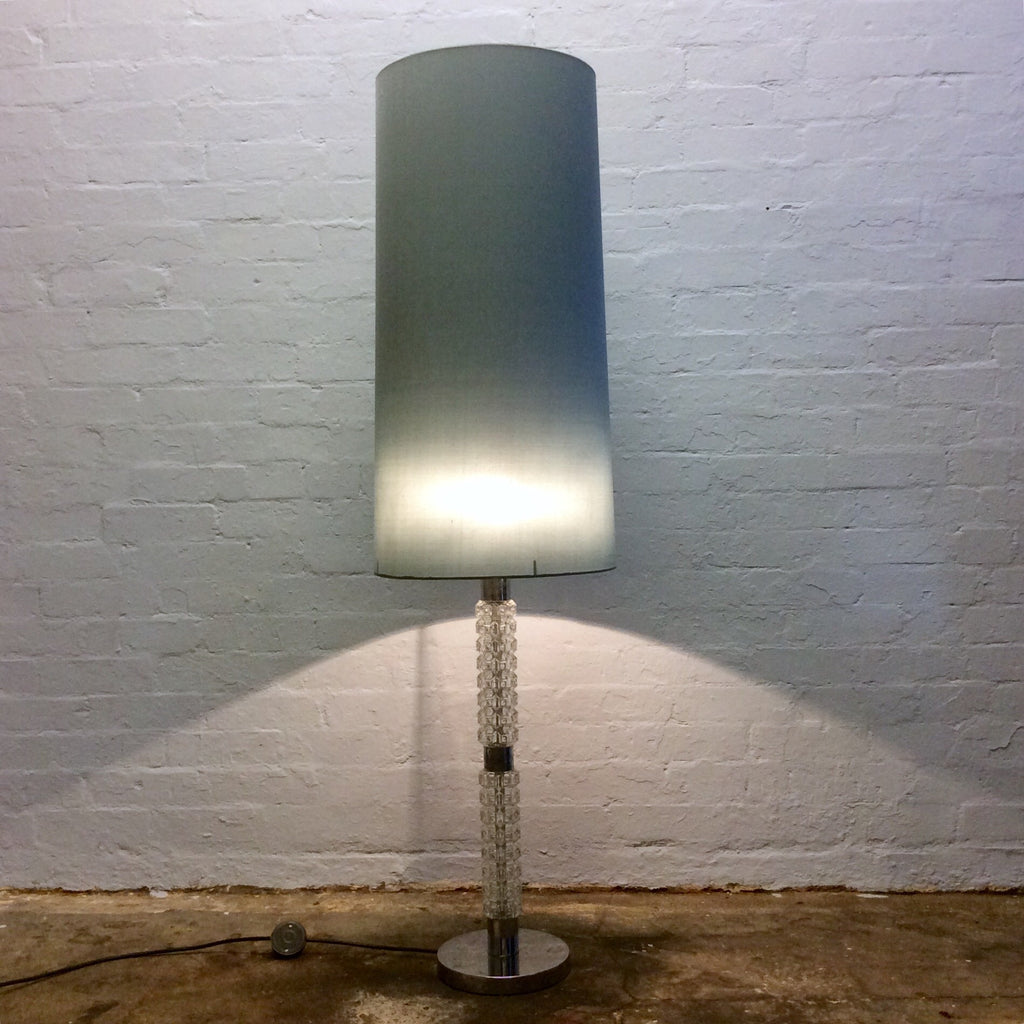 Vintage Glass Column/Chrome Base/Fossil Shade Floor Lamp
